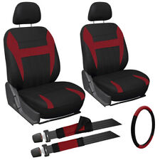 9 Piece Red and Black Front Car Seat Cover Set Bucket Chair w/Wheel Cover + Pads