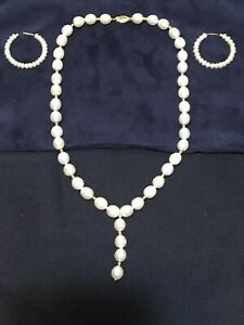 "VIN 17"" Akoya 14k Gold Natural Pearl Necklace w/Gold Beading w/Hoop Earrings"