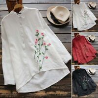 UK 8-24 Women Floral Embroidery Long Sleeve Tops Casual Loose Shirt Blouse Plus