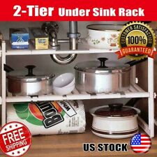 2-Tier Under Sink Cabinet Shelf Organizer Rack Kitchen Bathroom Storage White US