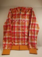 Burton Dryride Hoodie Jacket Orange,Peach,Gold Checked  Womens L  Snowboarding