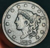 1838 Large Cent Coronet Head 1C High Grade Detail Sharp US Copper Coin CC4828