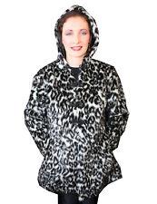 fda80e21e037 White Exotic Snow Leopard Fluffy Furry 3/4 Long Hooded Pockets Coat Jacket
