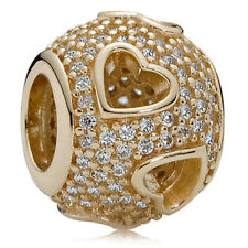 Genuine PANDORA Tumbling Hearts Silver Charm 14k Gold Plated 791426CZ