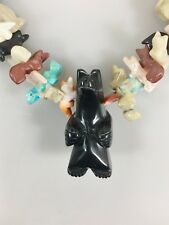 Totem Black Bear Multi Gemstone 100 Hand Carved Animals Zuni Fetish Necklace 36""