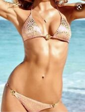 VICTORIA's SECRET DECO GOLD FOIL pink Bikini size M/L ❤️