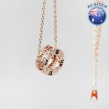 18K Rose Gold GF Filigree Ring Roman Numerals Fashion pendant Charm Necklace