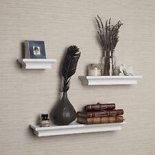 Modern Crown Molding Set of 3 White Floating Cornice Ledge Shelves-Danya B™