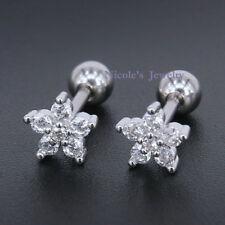 2pcs Beautiful 16G Surgical Steel CZ Flower Earrings Tragus Daith Ear Piercing