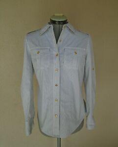 Tory Burch White Pinstripe Blouse Top Size 2