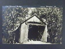 Brandon Vermont Old Misused Covered Bridge Real Photo Postcard Rppc 1940s