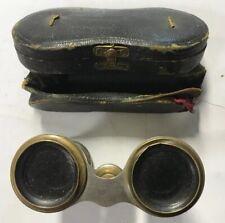 Antique Opera Glasses w/ Flower Motif & Leather Case