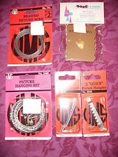 5 pkg,Picture hanging assortment set w/ wire, bumpers,sawtooth hanger & More