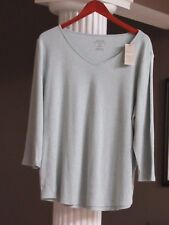 Chico's Green Heather 3/4 SLV V Neck Knit Shirt Size 3 or Women's XL