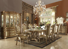 Traditional Gold Dining Room Set New 9 pieces Rectangular Table and Chairs Iacj