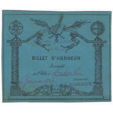 BILLET D'HONNEUR attribué à André Pierre par l'instituteur A. Domergue Janv 1908