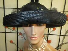 Vtg 70s 80s Fine Black Straw Wide Brim Ribbon Roses Net Derby Party Dress Hat