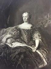 Van Loo Portrait de la Reine Marie-Leckzinska estampe Héliogravure 1910 Louis XV