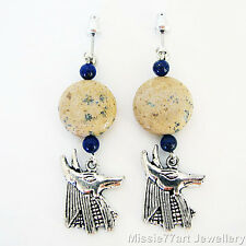 Anubis Ancient Egyptian God Lapis Lazuli Jasper Silver plated Earrings