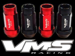 VMS RACING 24PC 48MM PREMIUM EXTENDED WHEEL LUG NUTS 12X1.5 RED BLACK MIX RK0