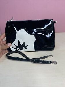 Lulu Guiness Patent Leather Marcel Zip Pouch Black (BOX 47)