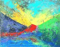 "PAINTING ABSTRACT Signed red yellow ""Ramp Up"" 11x14 panel Steven Graff collected"