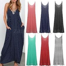 Women Summer Sleeveless V-neck Strap Polka Dot Long Maxi Dress Beach Sundress