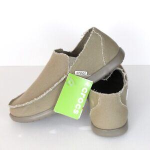 Crocs Santa Cruz Canvas Slip-On Beach Shoes Khaki Relaxed Mens Size 11 M US
