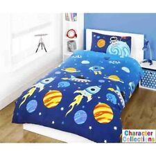 Rockets Single Duvet Set Space Planets Aliens Bedroom Fun Soft Kids Bedding New
