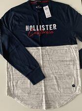 Mens Hollister Colourblock Logo Long Sleeve T-Shirt Size S