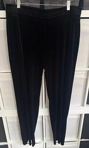 M&S Classic Black Velvet Wide Leg Pull On Trousers Size 16L Polyester/ Viscose