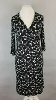 Hobbs Black White Print Stretch Belted Cross Over Dress UK 14 Occasion Evening