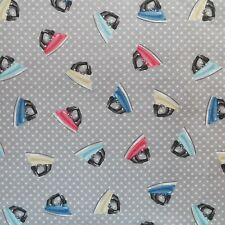 1/2 Yard Stitch In Time Steam irons on Gray Cotton Quilting Fabric By Makower UK