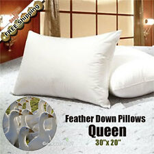 100% White Goose Feather Down Pillow 95/5 Medium-Fill Pillows, Queen - Set of 2