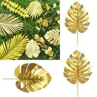 Gold Artificial Monstera Tropical Plam Tree Leaves Photography Background Fake