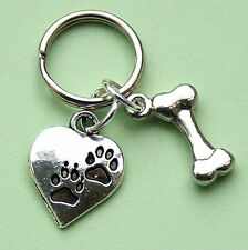 Dog Tags Silver Heart With Paw Print & Bone New Pet Dog Collar Charms  LB1221