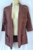 Staring At Stars Womans Size Small Open Front Open Knit Sweater Purple