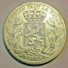 ===>> 5 Francs 1865 Belgique Belgïe Belgium Leopold I tête nue. KM# 17 <<====