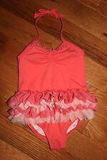 NWT Gymboree 2014 Swim Shop Size 5T Coral Pink Ruffle Skirt Tutu Swimsuit