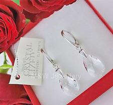 925 Silver Earrings Pear/Almond Crystal Clear 16mm Crystals From Swarovski®
