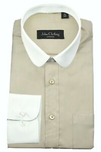 Men's Penny Round Contrast Collar Peaky Blinders Beige Solid Plain Shelby Shirt