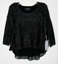 NWT WOMENS SZ L 12-14 JENNIFER LOPEZ BLACK & SILVER LUREX SEQUIN SHIMMER SWEATER