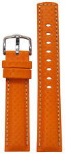 22mm Hirsch 'Carbon' Orange Synthetic Watch Band w White Stitching 120/80 22/20