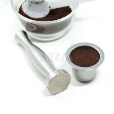 (1 cup+1 Tamper+120 seals) Stainless Steel Refillable Nespresso Coffee Capsule +