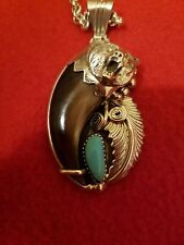 Navajo turquoise sterling silver bear claw pendant running bear necklace