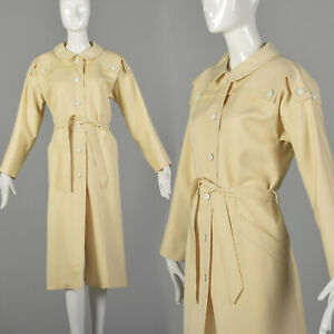 L Pierre Cardin Tan Trench Coat 1970s Classic Lightweight Spring Jacket 70s VTG