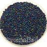 50g glass seed beads - Deep Blue & Multi Iris ~2mm (size 11/0) metallic rainbow