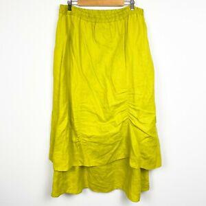 Design Todays 100% Linen Green Layered Elastic lagenlook Midi Skirt Size 1X FLAW