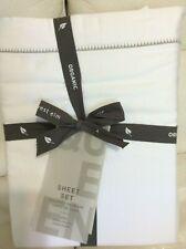 West Elm 400 TC Sateen Organic Cotton Queen Sheet Set NIP! White Scallop