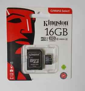 Kingston 16gb Micro SD Card 16GB & Adapter